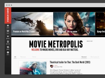 Movie Metropolis redesign - home screen moviemet web design flat redesign
