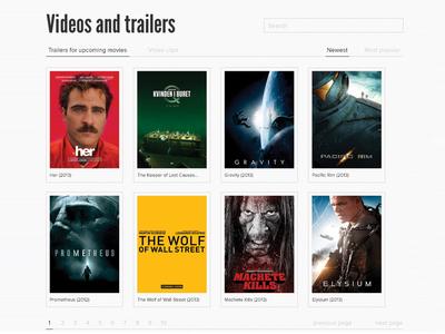 Movie Metropolis redesign - Videos and trailers moviemet flat webdesign