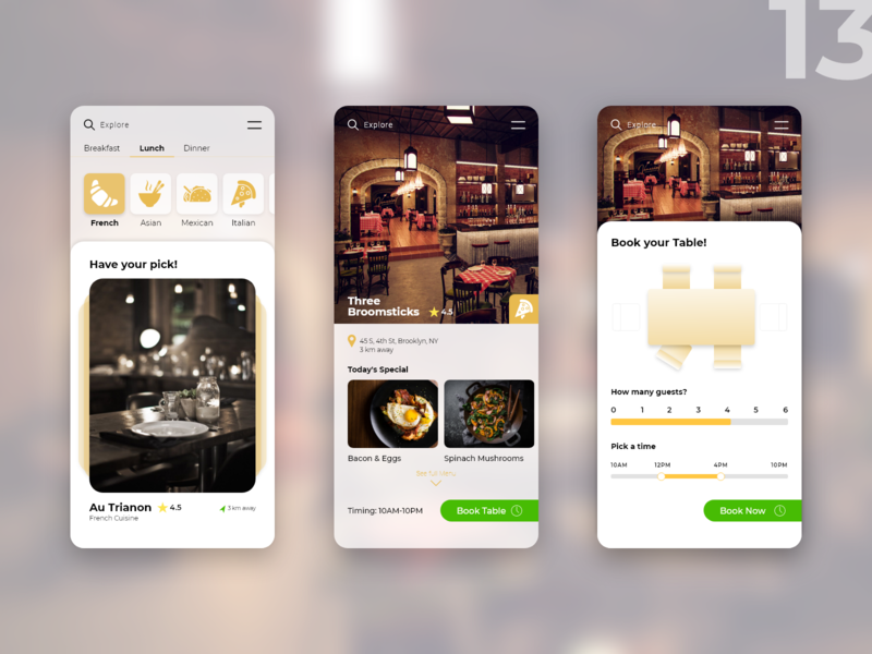 Mobile app for booking a table at a restaurant restaurant booking uidesign adobe xd uxdesign mobile app design flat ux ui design app