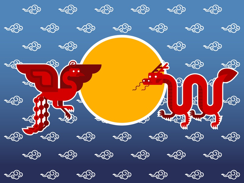 Chinese Phoenix & Chinese Dragon graphic design vector illustration