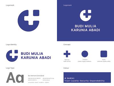 Logo Budi Mulia Karunia Abadi heart hospitality hospital health design minimal vector branding logo