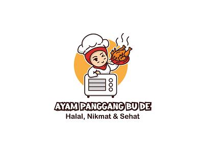 Logo Ayam Panggang Bu De Design illustration icon minimal flat design branding vector logo