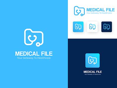 Medical File Logo icon minimal flat design branding vector logo