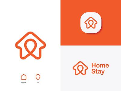 Home Stay Logo Concept icon illustration flat minimal design vector logo branding