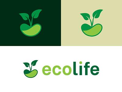 eco life logo design farm healthy green eco nature design icon minimal flat branding vector logo