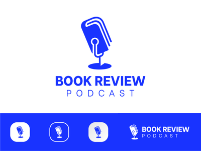 Book Review Podcast icon minimal flat design branding vector logo