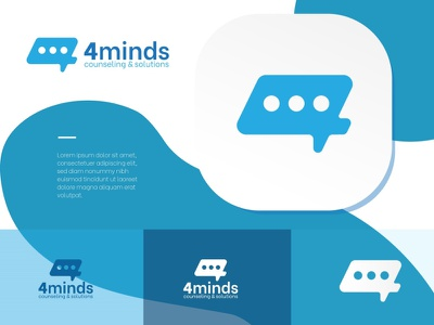 4 minds think chat mind 4 psycology consulting vector logo branding graphic design
