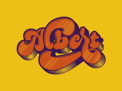 Albert, psychedelic lettering lettering calligraphy typography brush caligrafia logo branding barcelona virgulillas adria molins
