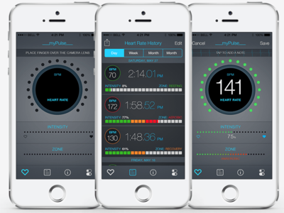 myPulse iOS Heart Monitor App ios health monitor visual design data visualization