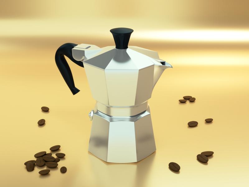 Moka cyclesrender render blender 3d 3dmodel b3d blender3d coffee espresso moka