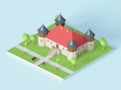 Manor House lowpoly 3dmodeling house manor manor house blender 3d blender 3d