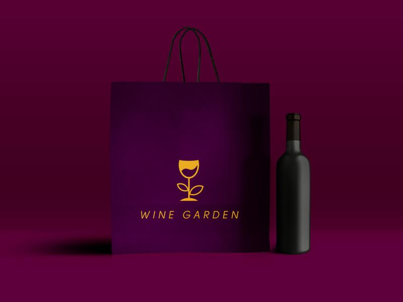 Wine Garden Logo Mockup restaurant logo brand logo elegant minimal logodesign wine logo bar wine