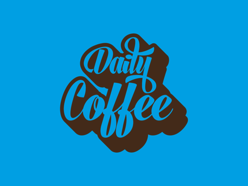 Daily Coffee hand lettered hand letters hand letter coffee shop blue handlettering logo dailylogochallenge coffeevibe coffee cup dailycoffee coffeeshop coffee