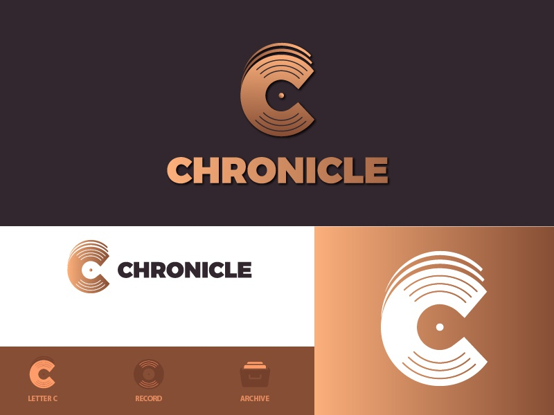 Chronicle Icon Concept technology brand business logo geometic clean color c lettering concept creative minimalist logo minimalist logodesign flat  design gradient flat logo icon archive chronicle