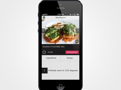 Nom Yourself Application user interface ios app application ui food flat iphone