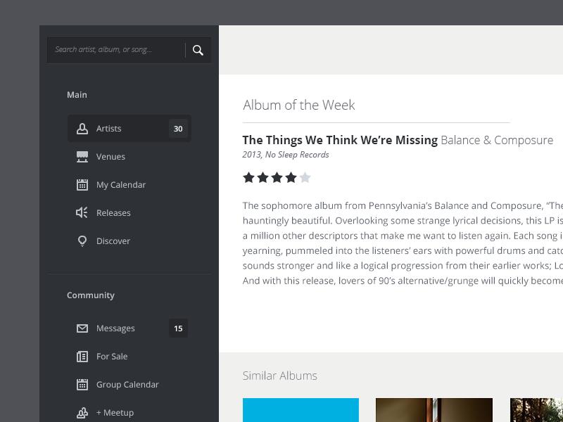 Music Interface music widget minimal lightweight application ui flat flat ui