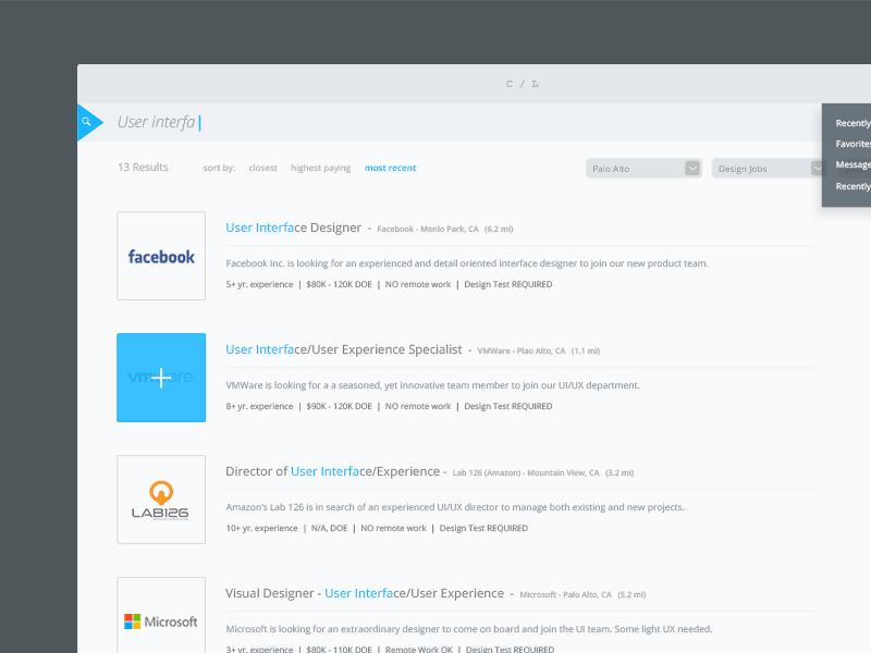Craigslist Jobs Redesign flat ui mobile jobs redesign ui ux interface app application photoshop desktop flat design