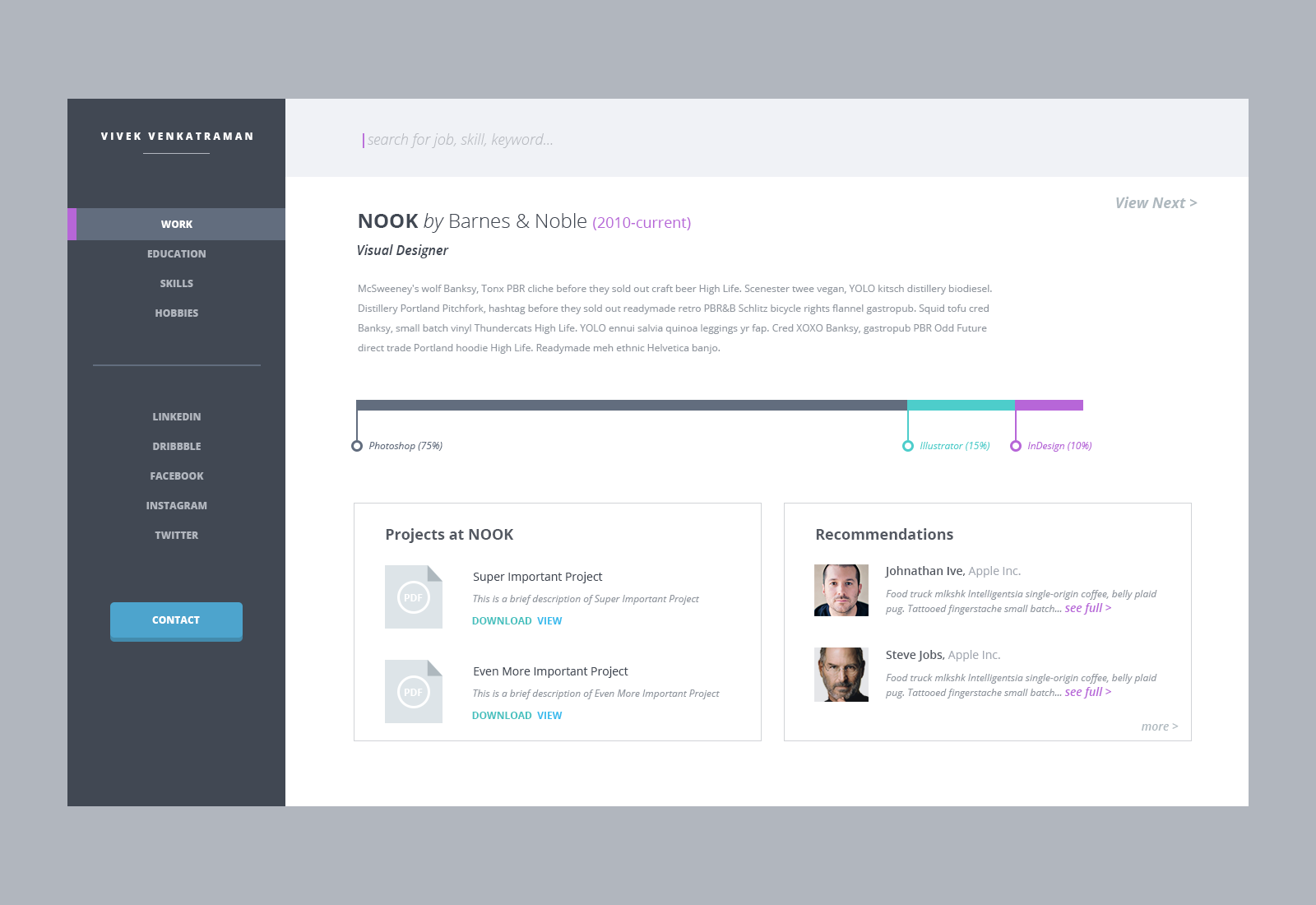Resume interface