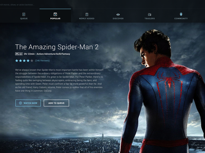 Movie UI netflix movies ui user interface web movie ui imdb navigation minimal flat spiderman photoshop