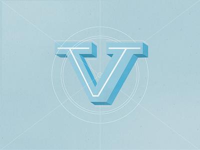 Letter V texture typography brushes vintage blue 3d lettering
