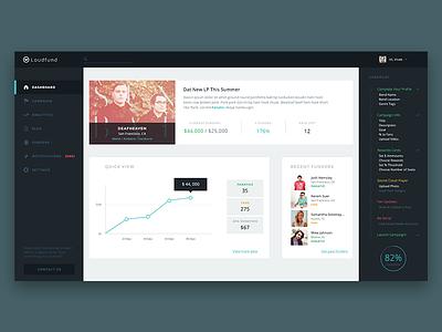 Loudfund Dashboard dashboard ui interface music application web web design flat design minimal flat loudfund navigation