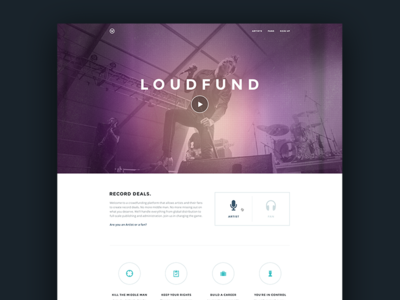 Loudfund-Concept website layout ui minimal flat redesign interface web design application user interface web loudfund