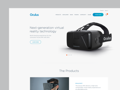 Oculus Redesign web design ui layout product oculus flat design minimal clean