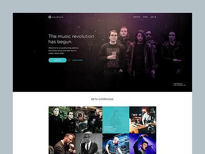 Unused Loudfund Concept music web website minimal web design visual design loudfund layout flat design