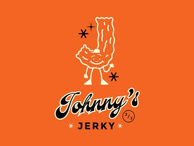 JOHNNY'S JERKY BRANDING logo illustration logomark script typography branding