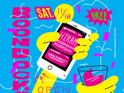Hiram Boondocks Sat 11 18 17 typography illustration flyer