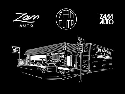 Zam Automotive illustration logomark wordmark monoline
