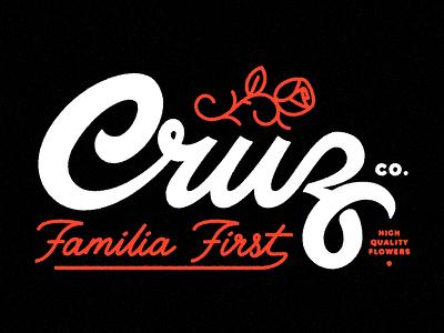 Cruz Co High Quality Flowers Tee Graphic branding logomark handlettering wordmark script flowers rose