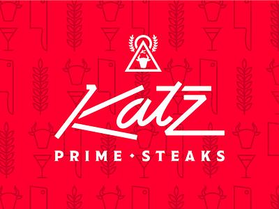 Katz Prime Steaks Dribbble script wordmark branding katz prime steaks steakhouse