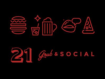 21 Grub & Social Dribbble nightclub social burgers pizza beer food branding icons