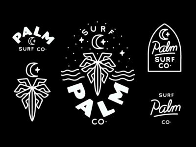 Palm Surf Co Branding wordmark hand drawn illustration logo branding