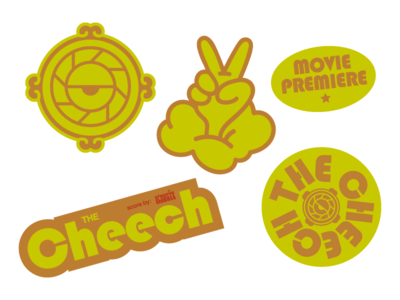 The Cheech Movie Premiere Stickers typography illustration