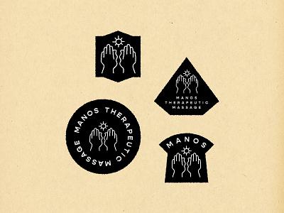 manos therapeutic massage branding badges branding logo logomark