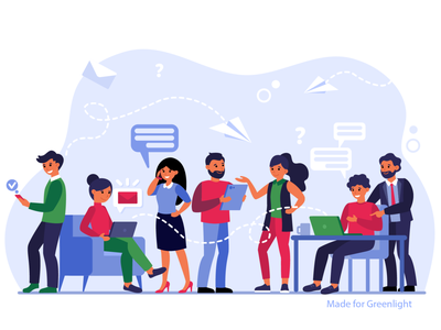 Communication via internet worker flat illustration team call message mail internet communication freelance work office group