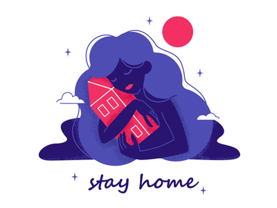 stay home stay home home coronavirus covid illustrator girl flat illustration