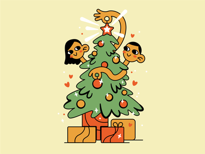 Happy New Year! postcard christmas tree present boy girl christmas happy new year new year flat illustration