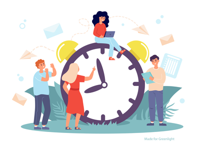 Time managment boy girl clock time management time stock flat illustration