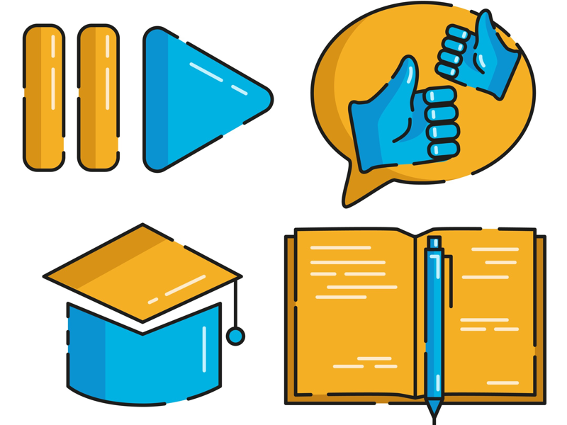 Study icons orange blue illustration comment icon comment like icon like book icon lessons video lessons website study icon study icon icons