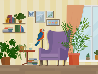 The room plants flowers flower window parrot detail books chair sofa room