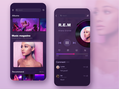 This music app is my first dribble, hope you like it ~💜😉 music art 现代 移动 music player 应用 设计 music ux ui