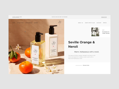 Jo Loves, Fragrance eCommerce | Collections clean minimalist beauty scent fragrance webdesign sidebar menu video product design motion animation ux e-comerce shop interface website web ui