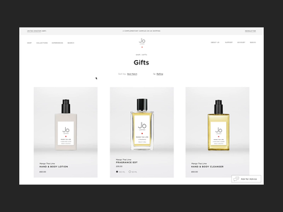 Jo Loves, Fragrance eCommerce | Browse & Add To Cart Flow progressbar cart add to cart grid minimalist clean beauty scent fragrance interaction video motion animation ux e-comerce shop interface website web ui