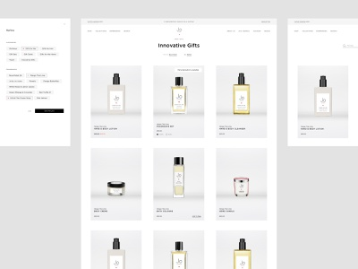 Jo Loves, Fragrance eCommerce | Category & Filters clean minimalist list filter grid scent beauty fragrance product browse uiux product design ux e-comerce shop interface website web ui