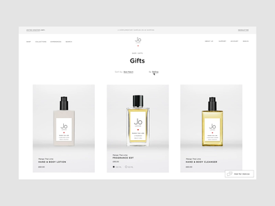 Jo Loves, Fragrance eCommerce | Filters webdesign video minimal clean fragrance microinteraction eshop motion animation ux e-comerce shop interface website web ui