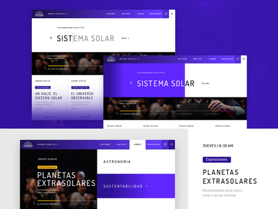 Website - Buenos Aires Planetarium design art search tool purple cience planetarium designer ui design uidesign uiux vector graphic branding web nice website design ux ui layout