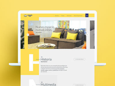 Mercado Libre Web Institucional home web layout eshop mercadolibre yellow ux ui website